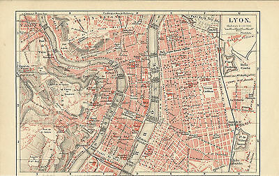 1888 LYON Frankreich Original alter Stadtplan Karte Old City Map Lithographie