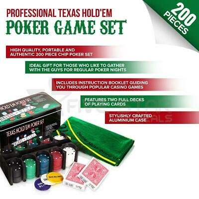 200Pc Texas Hold Em Poker Set Casino Style Card Dealer Chips Accessories