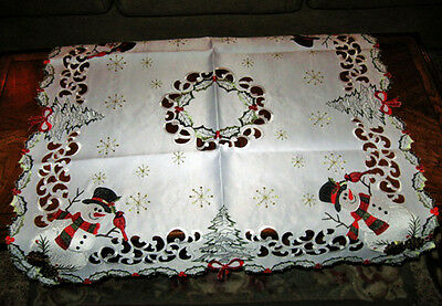"Holiday Rustic Snowman Cardinal & Snowflakes Christmas Decor Tablecloth 34""x 34"""