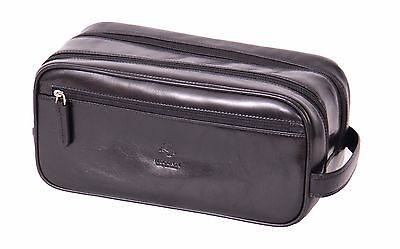 Mens Black LEATHER Wash Bag Toiletry Shaving Kit Cosmetic TOP Quality Travel Bag