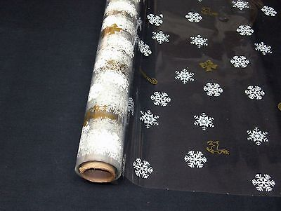 "4 Rolls 20""x100' Flakes & Canes  Christmas Designs Clear Cellophane Gift Wrap"