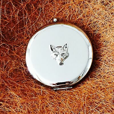 Antique Pewter Fox Head Emblem on a Ladies Compact Hand Mirror Gift