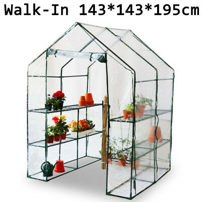"""4.8"""" Walk In Clear Plastic Greenhouse PVC Cover Steel Frame Plant Vegetables"""