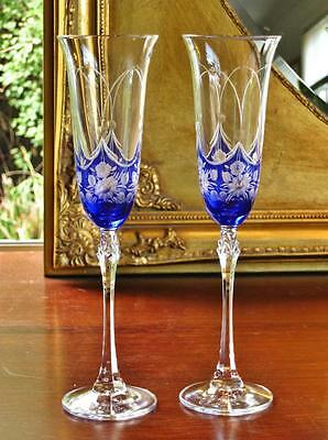 Pair of beautiful Bohemia SAPPHIRE ROSE Royal Crystal Champagne flutes.