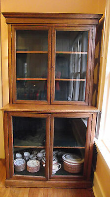 c1920's antique Craftsman Oak China Cabinet with glass doors