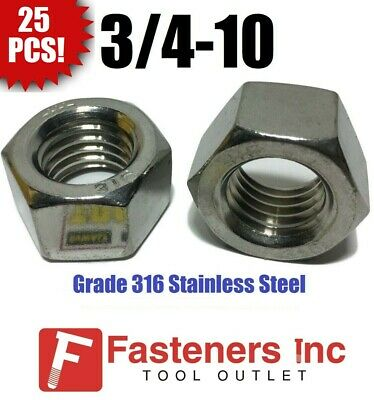 (Qty 25) 3/4-10 UNC 316 Grade Stainless Steel Finished Hex Nut GRADE 316
