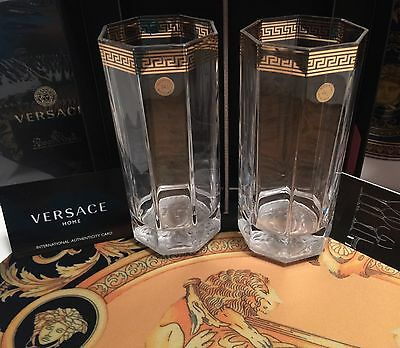 Versace Medusa Gold Long Drink Set Of 2 Beer Glasses Water New Gift