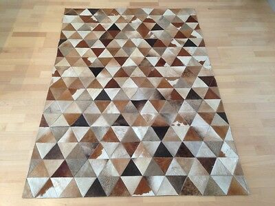 New Cowhide Rug Patchwork Leather Carpet. Free Shipping.