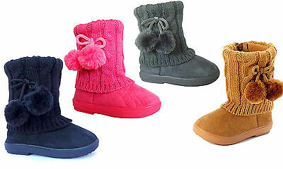New Kids Boots Toddler Girls 2 Pom Faux Fur Suede Knitting Shoes-268