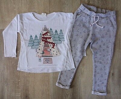 Zara Girls 4 years 2-piece Outfit Set Teepee Wigwam Leggings Top (3)