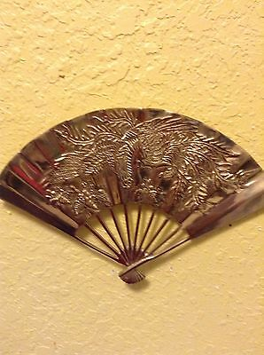 Vintage Solid Brass Hand Held Fan Etched Dragon Design Wall Mount