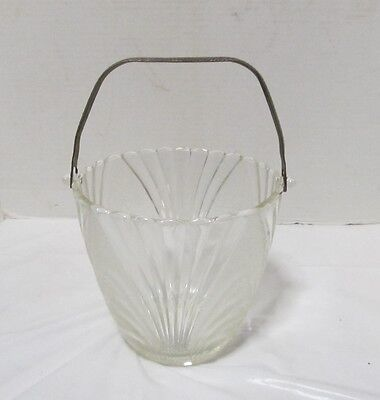 Vintage Glass Ice Bucket with Hammered Metal Handle clear & frosted panels LQQK!