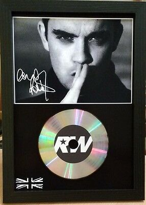 Robbie Williams - Signed Photo/silver Disc Display