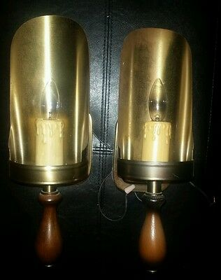 Pair Vintage  Brass  Wood Candle Stick Sconce Scoops Light Fixtures