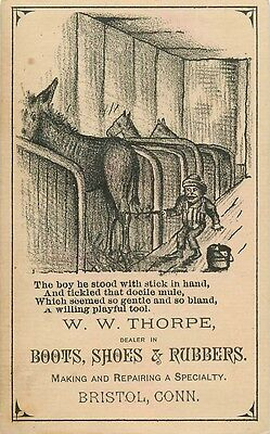 W. W. Thorpe. Boots, Shoes, & Rubbers Animated Business Card. Bristol CT. Mules