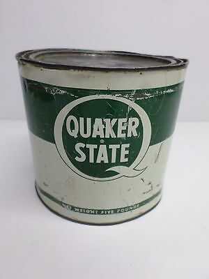 """Vintage """"QUAKER STATE"""" GREASE CAN - Five (5) Pound Size"""
