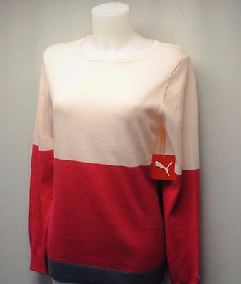 New Womens PUMA Colorblock crewneck long sleeve golf sweater Medium Pink Dogwood