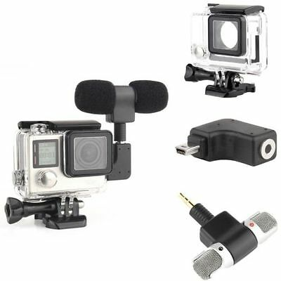 Side Open Skeleton Protect Housing Case Microphone Adapter For GoPro Hero 3 3+ 4