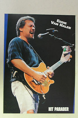 EDDIE VAN HALEN Full Page Pinup magazine clipping playing in front of a mic