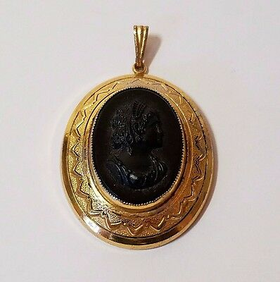 Vintage Gold Tone Black Glass Oval Cameo Necklace Pendant Charm Victorian Lady