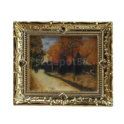 Dollhouse Miniature Gold Framed Autumn Scenery Painting Mural Wall Picture