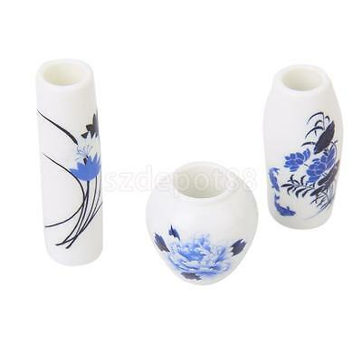 3pcs Dollhouse Miniature China Porcelain Ceramic Vase pot blue/purple flower