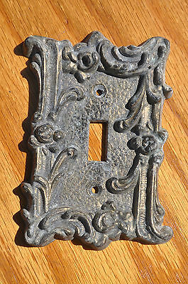 Vintage Ornate Metal Light Switch Plate Rose Flower Design Number Five