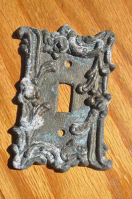 Vintage Ornate Metal Light Switch Plate Rose Flower Design Number Four