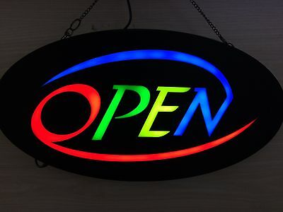 NEW 12V LED Round OPEN Bright Neon Sign for Business and Shop 48cm*24cm