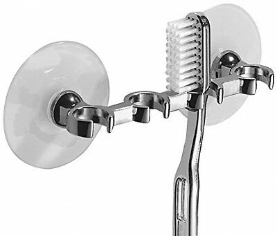 Suction Toothbrush Holder Chrome Holds 4 Toothbrushes NEW ** FREE DELIVERY **