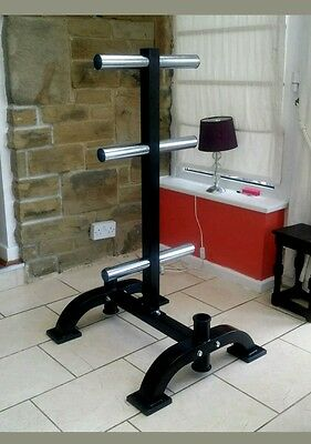 """Weight Rack  Tree For 2"""" Olympic Weights Gym Professional + 2  Bar Holder"""