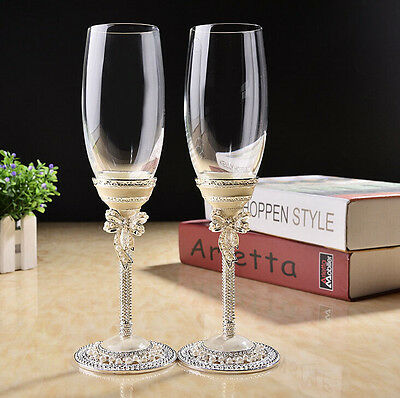 Champagne Wine Goblets Bride Wedding Glasses Lead-free Toasting Flutes A Pair Of