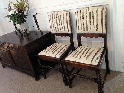 Antique Pair Barley Twist Dining Chairs
