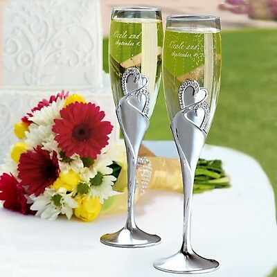 Sparkling Love Double Heart Goblet Wedding Party Champagne Toasting Flutes