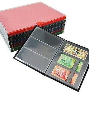 Banknote album, holds up to 60 notes.CLEAR PAGES, come with slip case - Org/Red