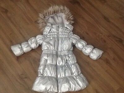 Girls Silver Coat By Millie Age 4
