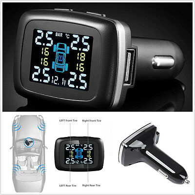Car TPMS Tire Pressure LCD Realtime Monitor System & 4 Wireless External Sensors