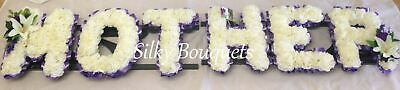 Mother Artificial Silk Funeral Flower 6 Letter Wreath Memorial Tribute Any Name