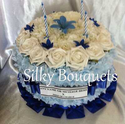 Artificial Silk Flower Birthday Cake Wreath Floral Tribute Grave Memorial False