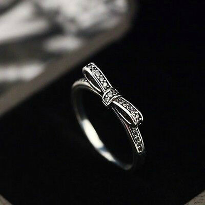 Authentic 100% pure solid 925 Sterling Silver Bow ring eternity
