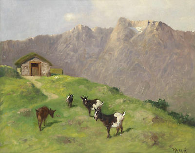 Painting Heyer Mountain Goats Art Print Picture Poster Hp2956