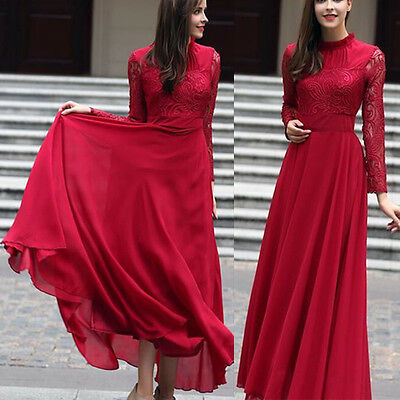 Womens Long Sleeve Lace Chiffon Ball Gown Evening Cocktail Formal Party Dress UK