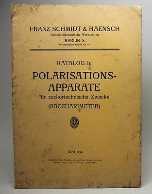 Antique 1912 FRANZ SCHMIDT & HAENSCH Optical Devices CATALOG Polarizationapparte