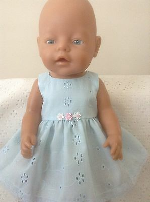 Handmade Dolls clothes  for Baby Born (43cm)  ~ Blue Broderie Anglaise Dress