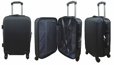 "20"" 24"" 28"" Hard Shell Suitcase Set 4 Wheel Luggage Spinner Lightweight - BLACK"
