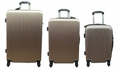 "20"" 24"" 28"" Hard Shell Suitcase Set 4 Wheel Luggage Spinner Lightweight - GOLD"