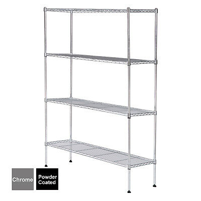 4 Tier Wire Shelving Rack Organizer Kitchen Steel Shelf Black/Chrome Adjustable