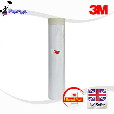 3M 2000mm Drop Cover Roll Masking Tape Poly Film Sheet Pre Folded 20m Roll WHITE