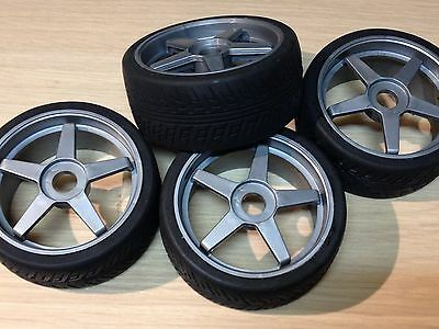 KYOSHO INFERNO GT2 1/8th, 4 x SEMI SLICK TYRES ON GREY WHEELS IGH002, REDUCED