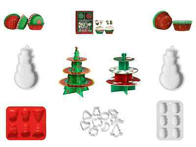 Christmas Baking Fun Novelty Festive Snowman Cup Cake Cookie Cutter Mould Stand